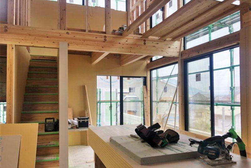 宇宿の家1 内部工事が進んでいます。